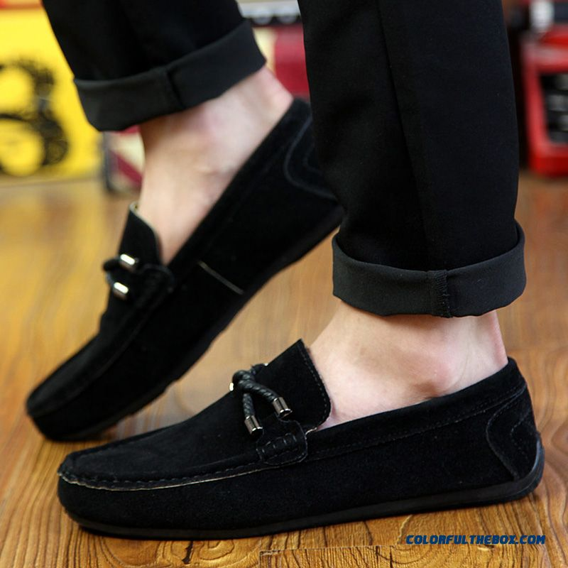 52c37981c9 ... Authentic Moccasin Ommino Men s Winter Fashion Flats Plus Velvet Warm  Shoes All Black - detail images ...