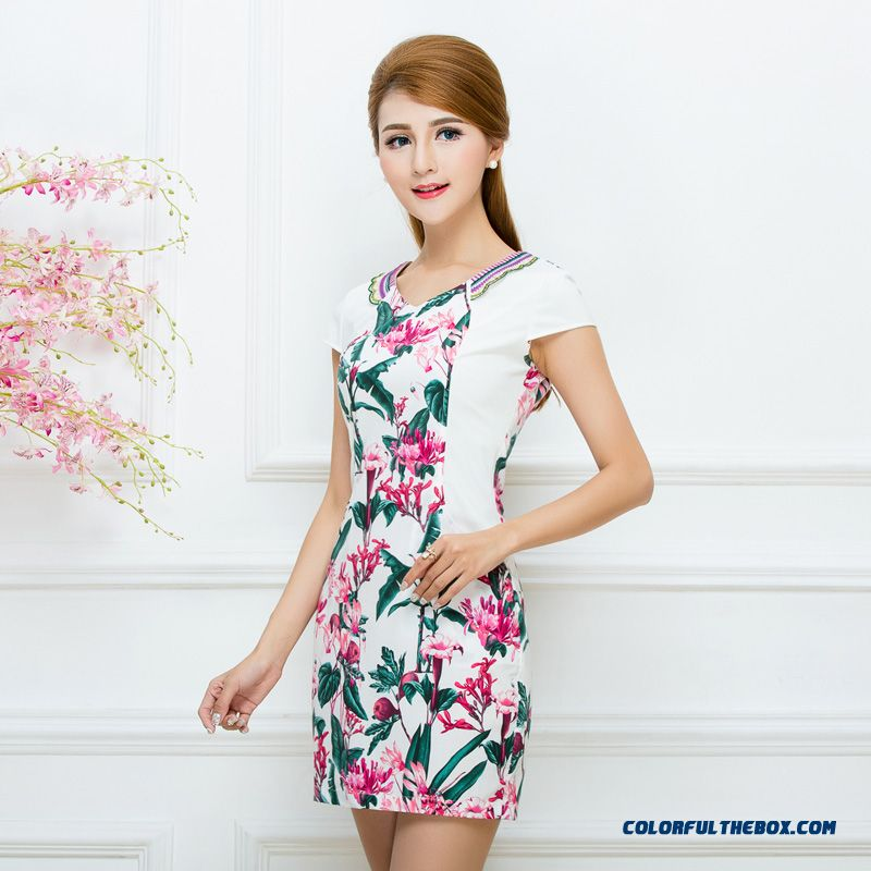 Authentic Women's 2016 Summer New Ethnic Style Printing Laies Dress Promotion - more images 1