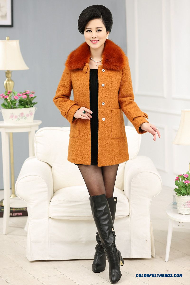 Autum And Winter Women Middle-aged And Elderly Thicken Fur Collar Solid Color
