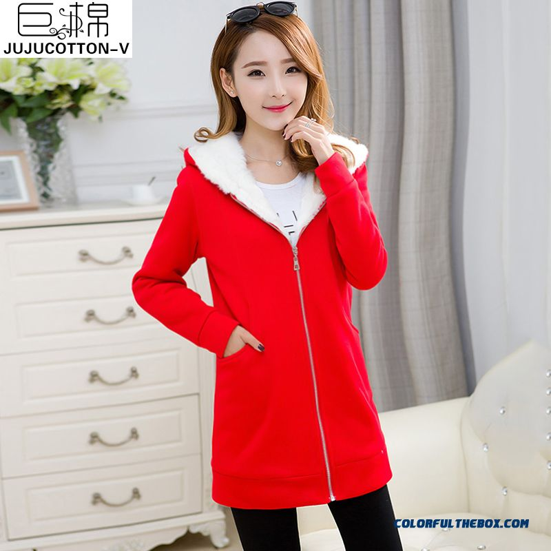 Autumn And Winter 2015 New Women's Coat Slim Plus Thick Velvet Long-sleeved