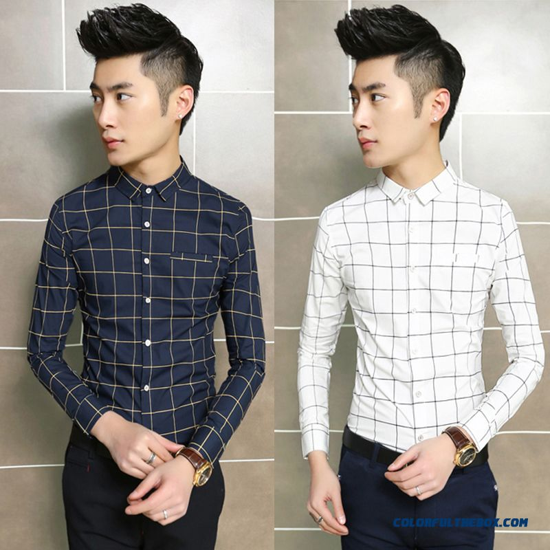 Autumn And Winter Casual Plaid Long-sleeved Men Shirt Young Youth Repair Tide