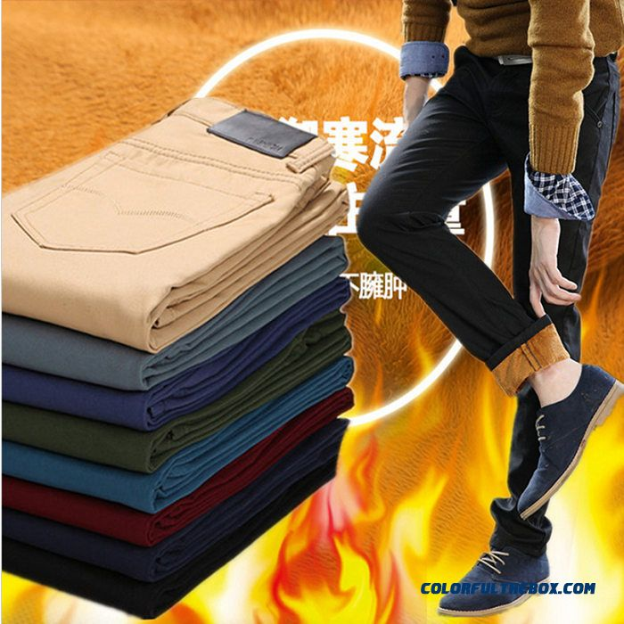 Autumn And Winter Clothing Plus Velvet Thick Long Casual Straight Slim Men Pants Fashionable
