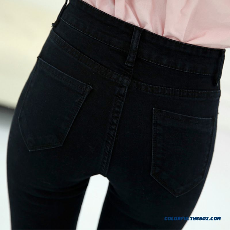 Autumn And Winter High Waist Jeans Women Large Size Pants Slim Solid Color Fashion