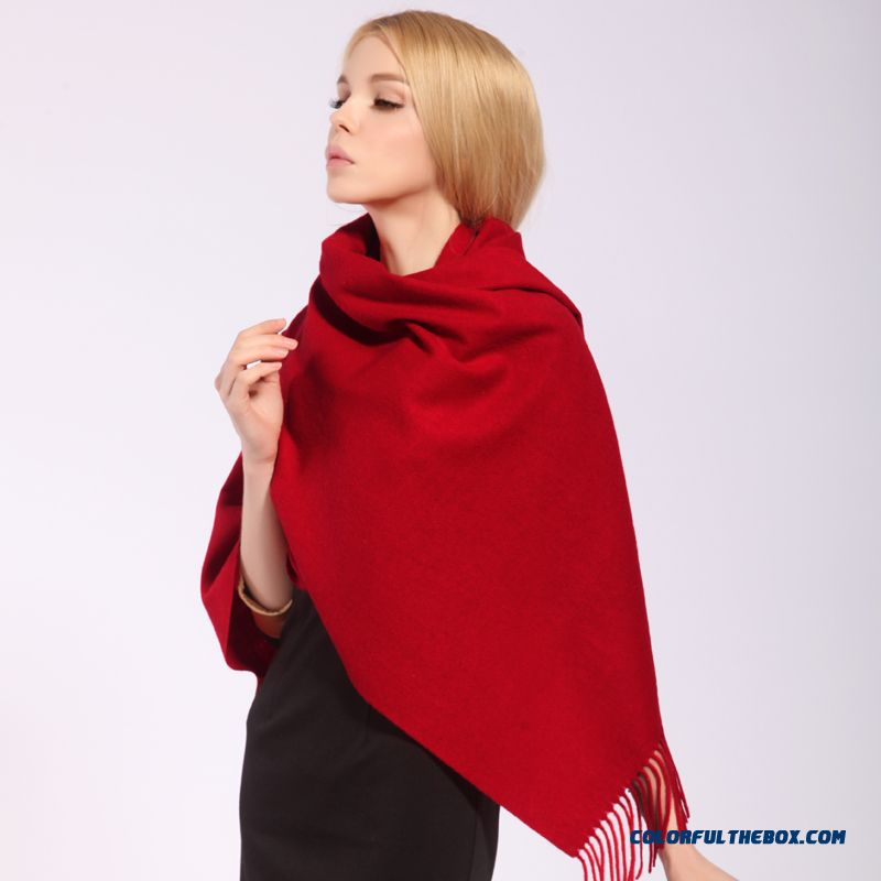Autumn And Winter Joker Solid Color Thick Wool Scarf Shawl Oversized Air Conditioning Women Accessories