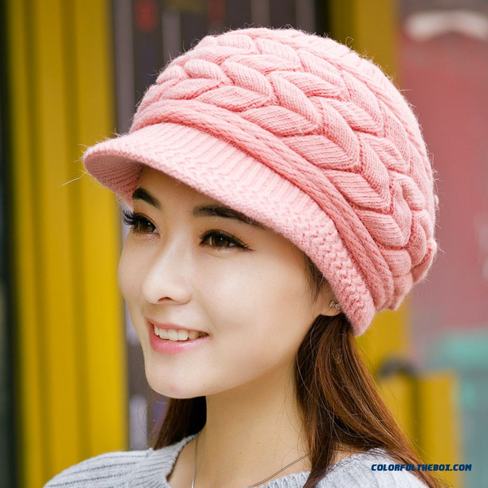 Autumn And Winter Knitted Peaked Angora Wool Cap Winter Thickened Ear Protection For Women