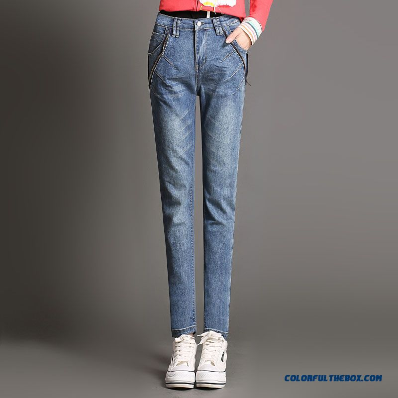 Autumn And Winter Large Size Jeans Pants Waist Pencil Pants Women Slim Pants Side Zipper