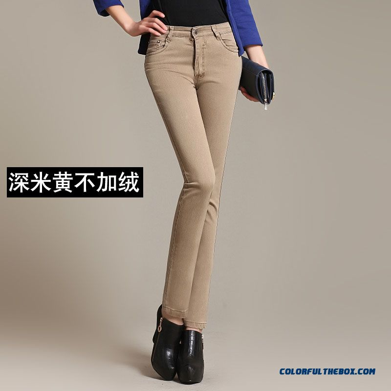 Autumn And Winter Large Size Plus Velvet Pencil Pants Thickening Elastic Casual Women Pants