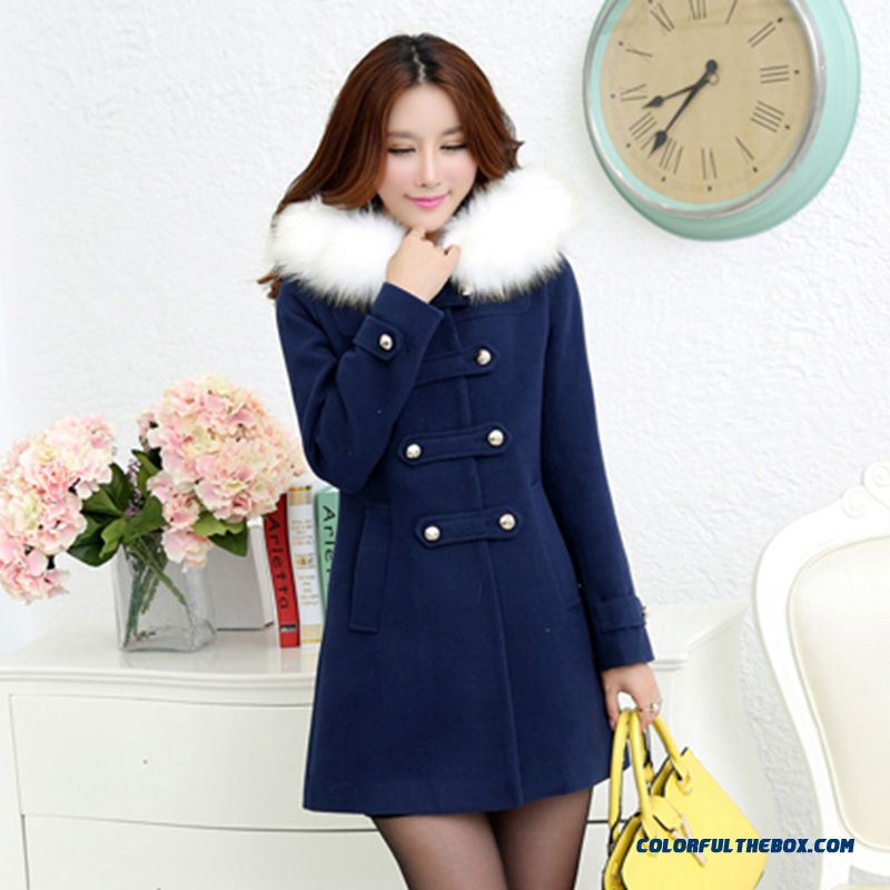 Autumn And Winter Large Size Quality Medium Style Slim Women's Woolen Coat