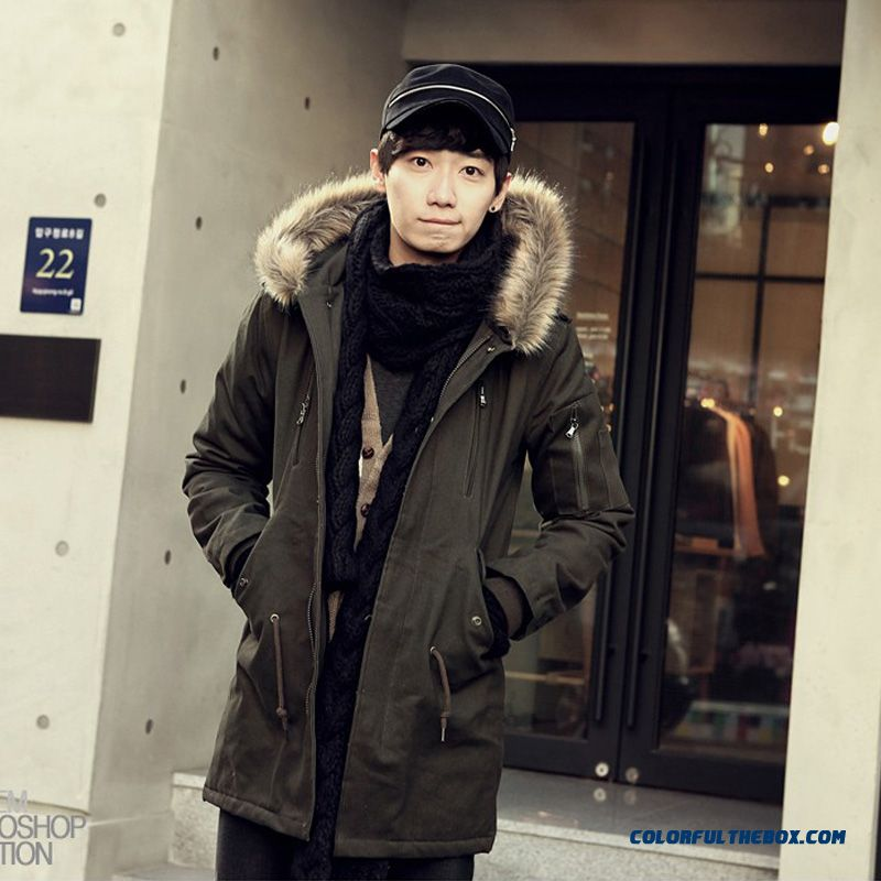 Autumn And Winter Men Hooded Jacket Long Plus Velvet Thick Warm Fashion Cotton Coats