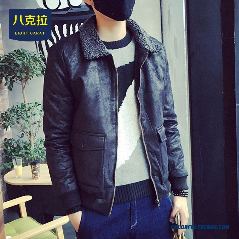 Autumn And Winter Men Lambs Wool Thickened Washing Retro Slim Leather Jacket