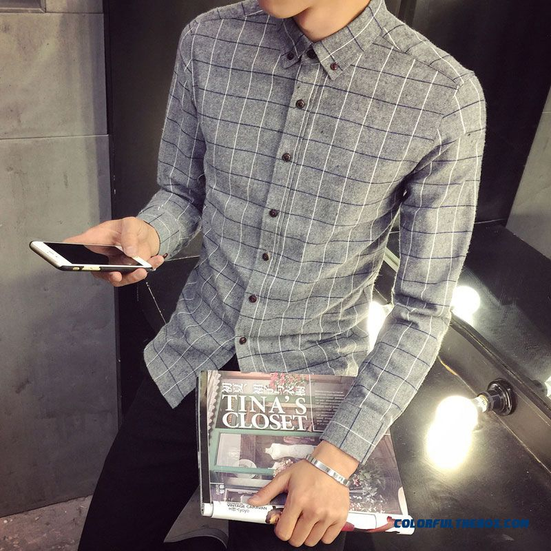 Autumn And Winter Men's Business Casual Long-sleeved Plaid Shirt Slim Grey