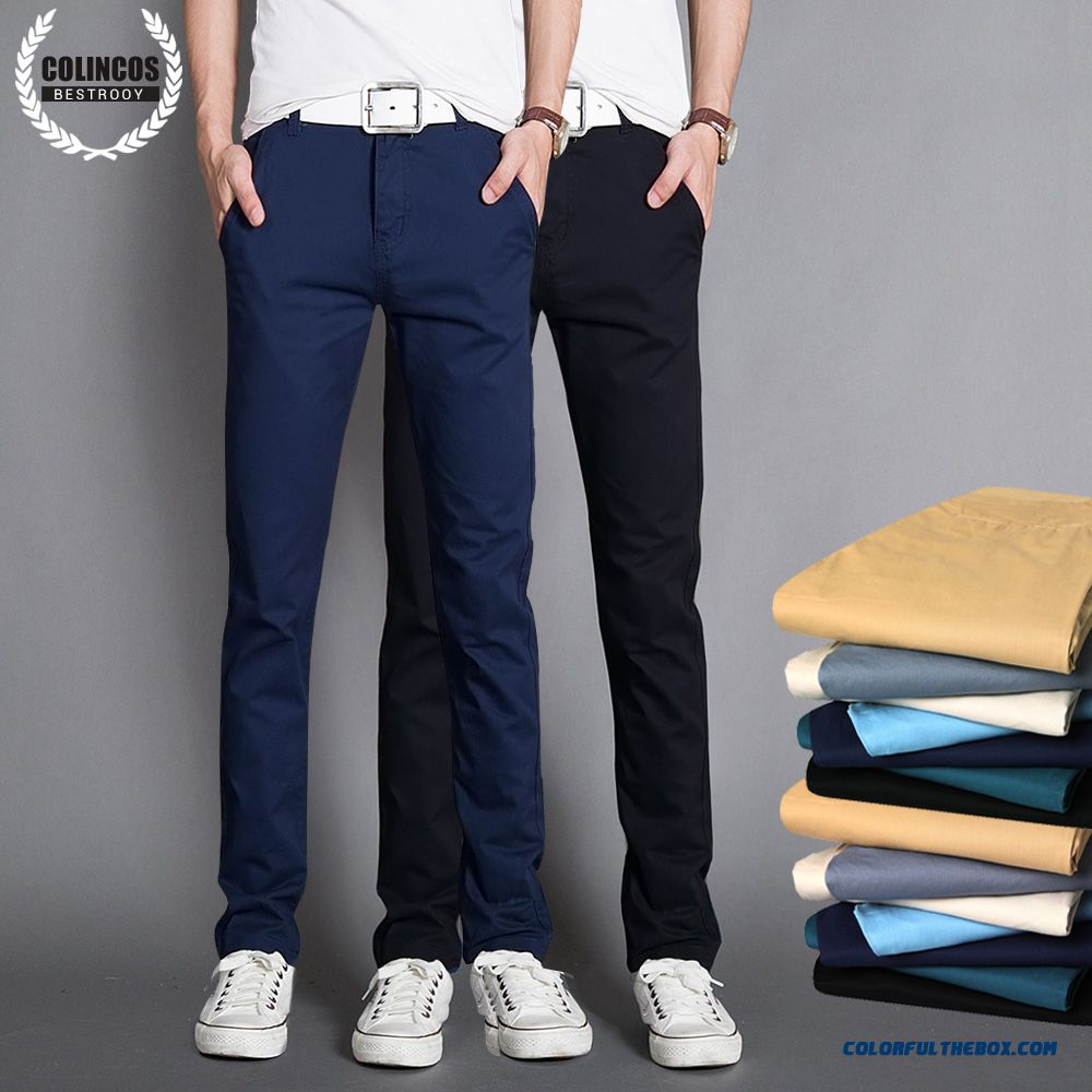Autumn And Winter Men's Casual Cotton Slim Straight Thick Long Plus Velevt Pants - more images 1