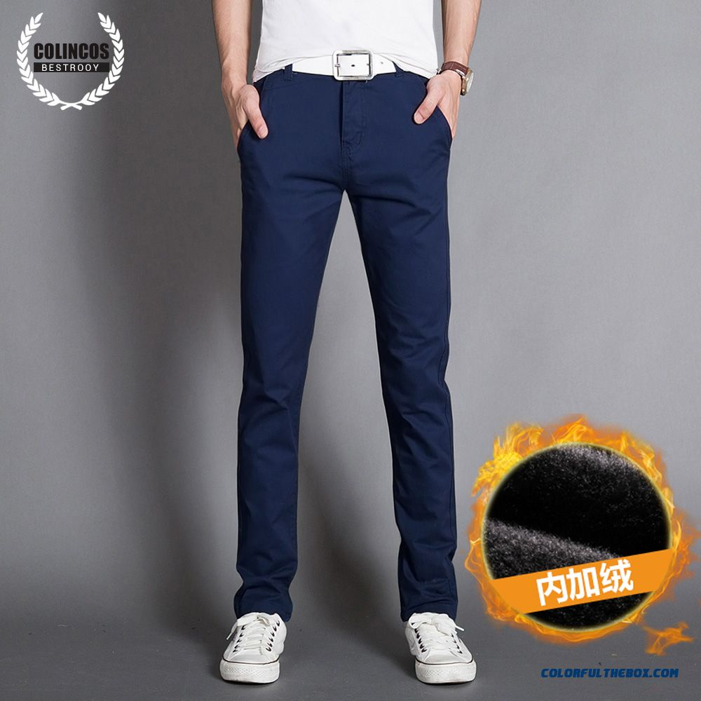 Autumn And Winter Men's Casual Cotton Slim Straight Thick Long Plus Velevt Pants - more images 2