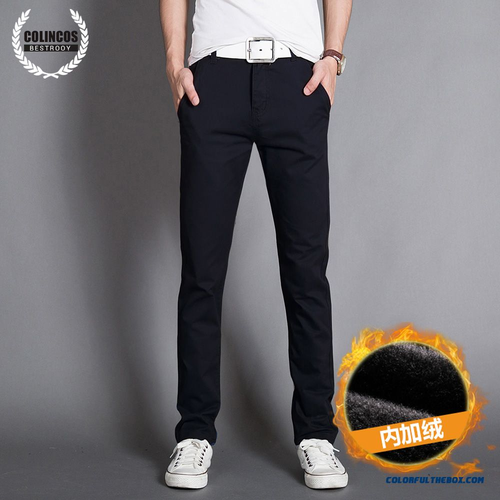 Autumn And Winter Men's Casual Cotton Slim Straight Thick Long Plus Velevt Pants - more images 3