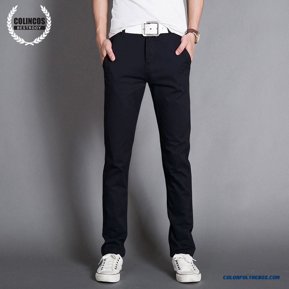 Autumn And Winter Men's Casual Cotton Slim Straight Thick Long Plus Velevt Pants - more images 4