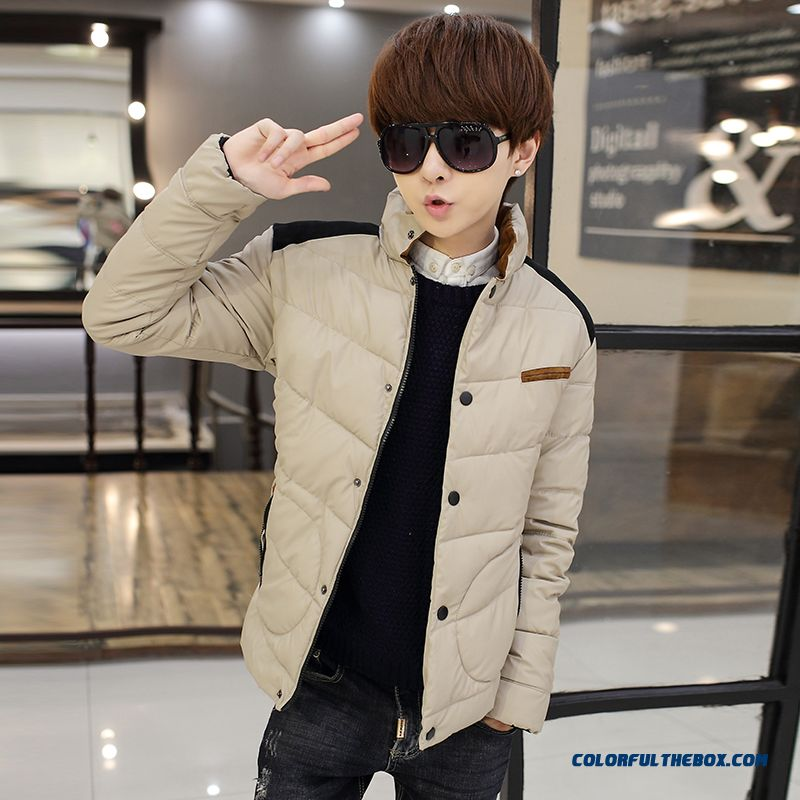 Autumn And Winter Men's Casual Jacket Short Slim Solid Color Cotton Warm Tide Of Youth