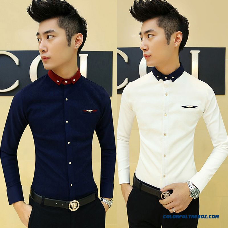 Autumn And Winter Men's Casual Long-sleeved Shirt Solid Color Slim Thickened White