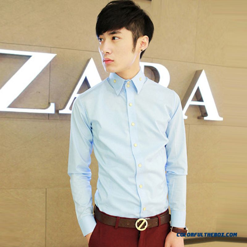 Autumn And Winter Men's Long-sleeved Shirt Business Casual Dress Young Slim Cheap