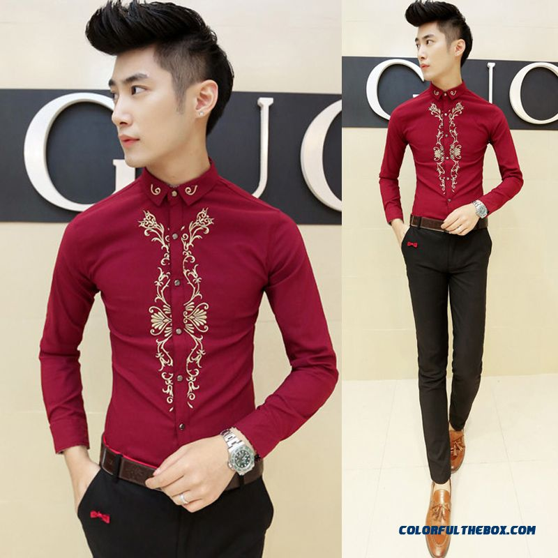 Autumn And Winter Men's Long-sleeved Shirt Korean Version Of Slim Casual Embroidery - more images 1