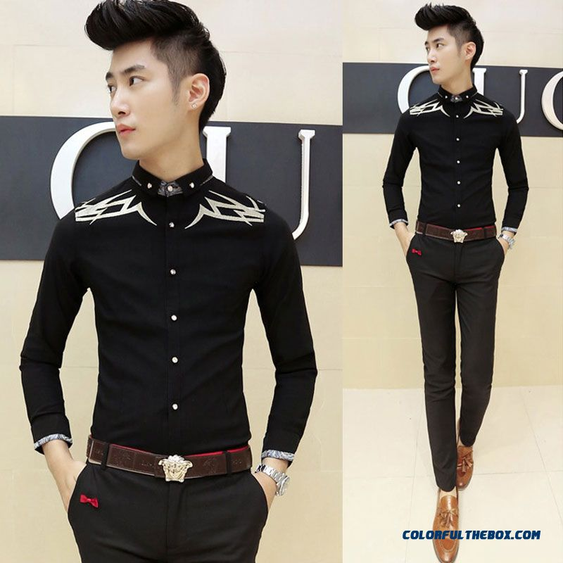 Autumn And Winter Men's Long-sleeved Shirt Korean Version Of Slim Casual Embroidery - more images 2