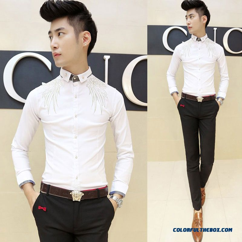 Autumn And Winter Men's Long-sleeved Shirt Korean Version Of Slim Casual Embroidery - more images 3