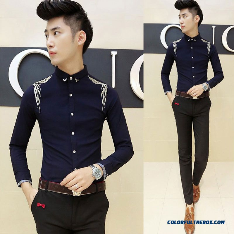 Autumn And Winter Men's Long-sleeved Shirt Korean Version Of Slim Casual Embroidery - more images 4