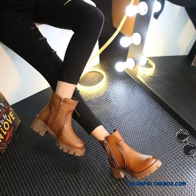 Autumn And Winter Middle-heels Boots High-heeled Retro Fashion