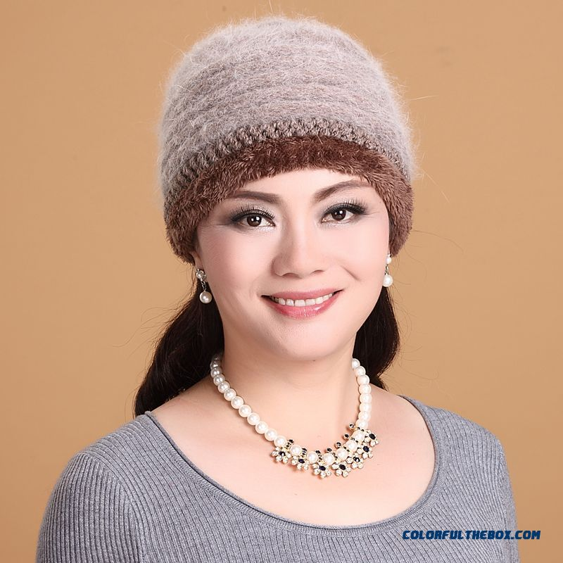 Autumn And Winter Mom Hat Angora Knitted Cap Elderly Winter Ear Protection Function Hat Accessories