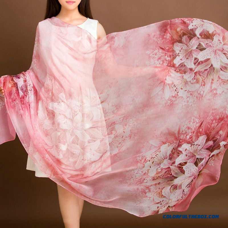 Autumn And Winter Mulberry Silk Silk Inkjet Printing Hand Crimping Ladies Women Long Scarves Silk Large Shawl