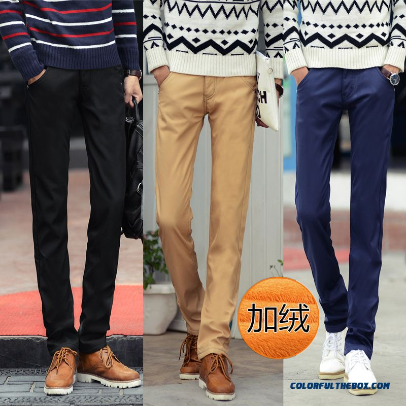 Autumn And Winter Plus Velvet Thick Casual Straight Slim Menyouth Long Pants