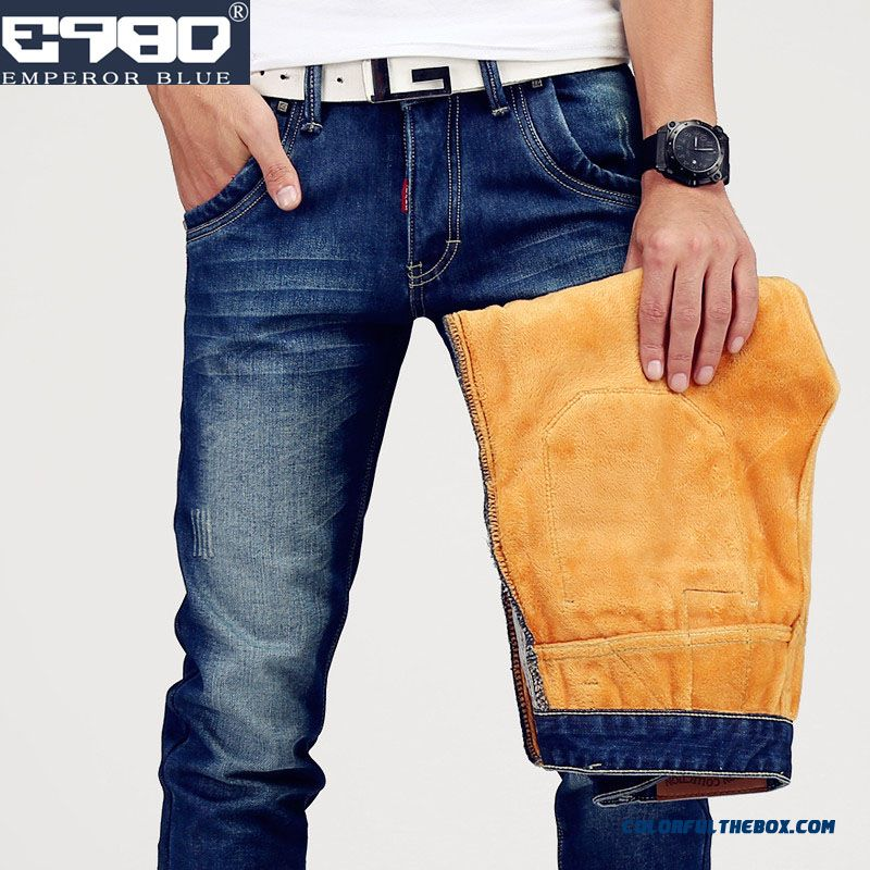 Autumn And Winter Plus Velvet Thick Jeans Straight Slim Young Long Style