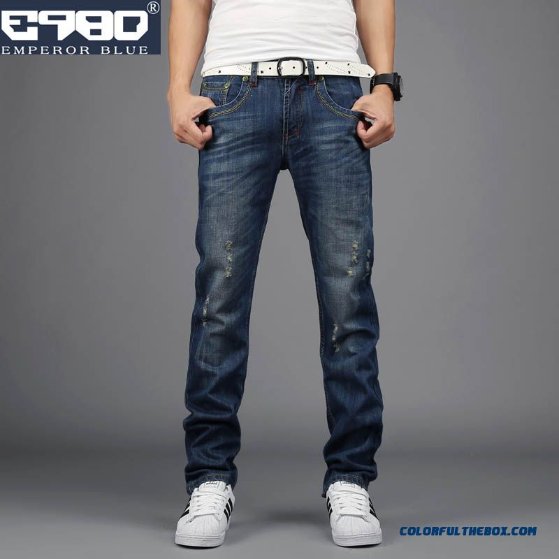 Autumn And Winter Retro Broken Hole Slim Straight Men Clothing Jeans