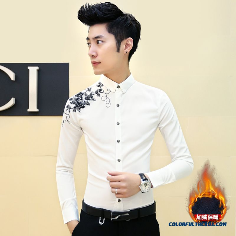 Autumn And Winter Slim Men's Warm White Long Sleeve Shirt Printing Plus Velvet Free Shipping