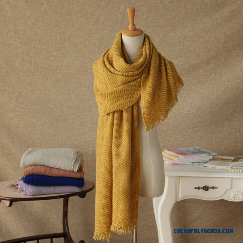 Autumn And Winter Soft Knit Wool Scarves Ice Cream Solid Color Color Scarves Women Acautumn And Winter Soft Knit Wool Scarves Ice Cream Solid Color Color Scarves Women Accessoriescessories - more images 1