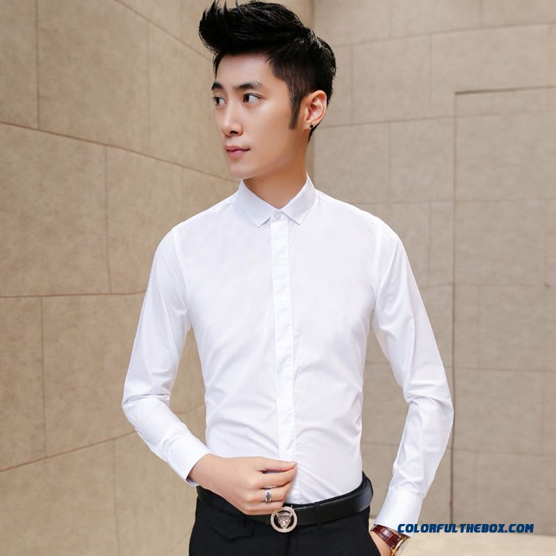Autumn And Winter Solid Color Business Casual Long-sleeved Slim Me Shirts Handsome