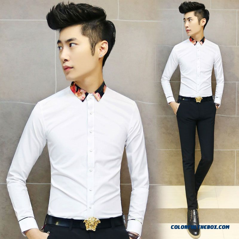 123a4e84ba064 Autumn And Winter Solid Color Men's Business Casual Long-sleeved Shirt Slim  Korean Vertion ...