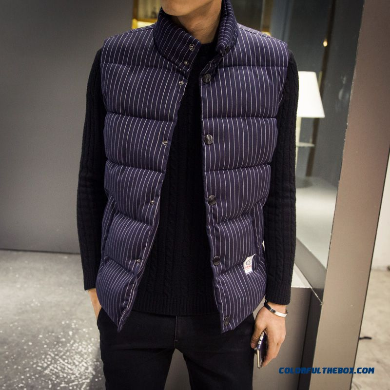 Autumn And Winter Stripe Cotton Men Fertilizer Increase Code Vest Tide