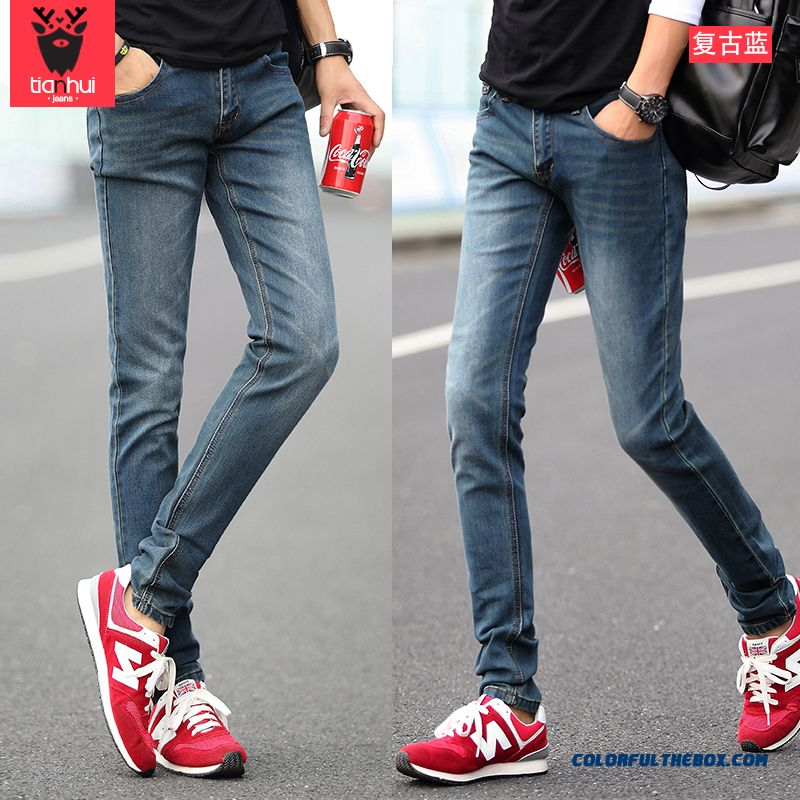 Autumn And Winter Thick Black Slim Straight Jeans Men Teenagers Elastic