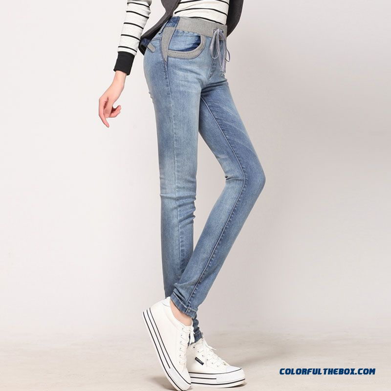 Autumn And Winter Thick Elastic Waist Women Pencil Pants Large Size Elastic Thin