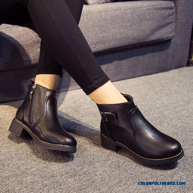 Autumn And Winter Thick Heels Round-toe Martin Boots Side Zipper Short