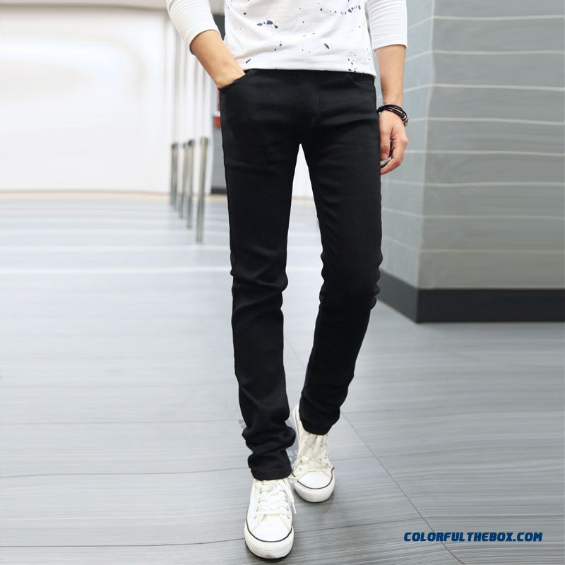 Autumn And Winter Tide Men Slim Black Plus Velvet Casual Jeans