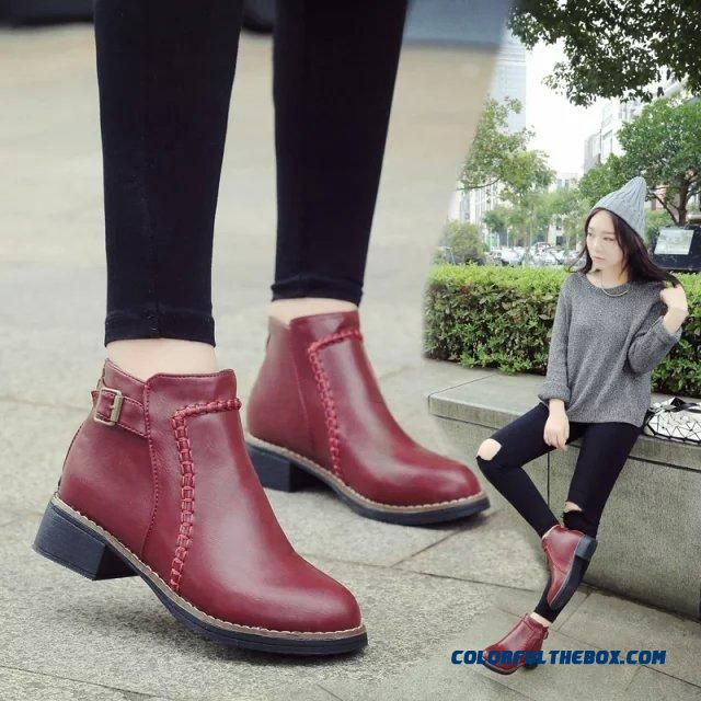 Autumn And Winter Women Boots Middle-heels British Style Retro Thick Heels Cotton Shoes