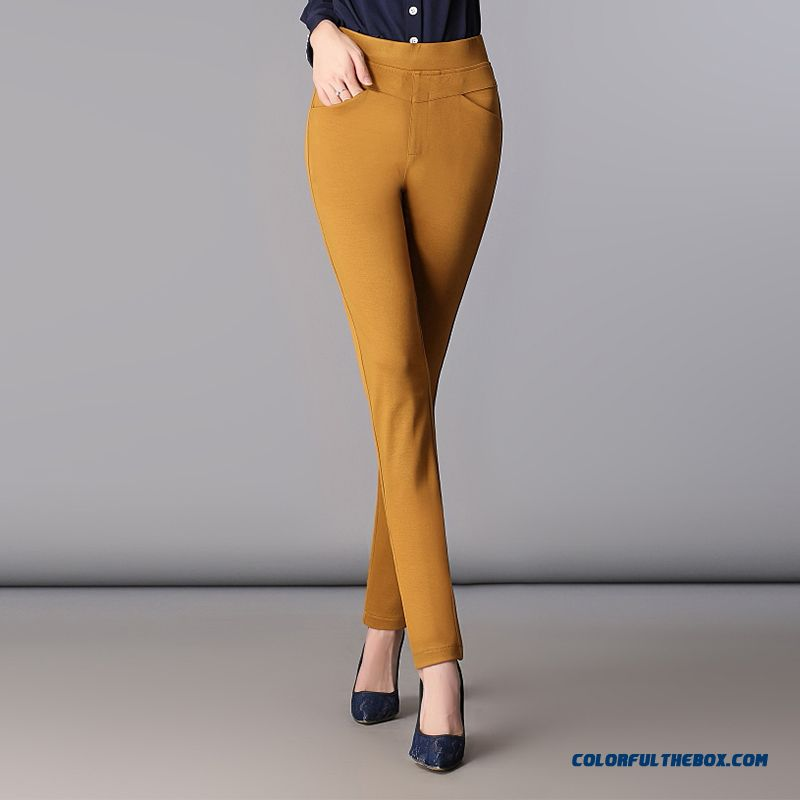 Autumn And Winter Women Casual Pants Large Size Slim High Waisted Stretch Long Pants