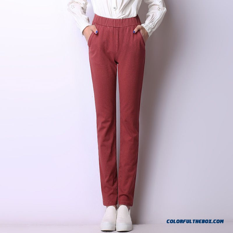 Autumn And Winter Women Casual Pants Large Size Thick Elastic High Waist And Thin Straight Long Pants