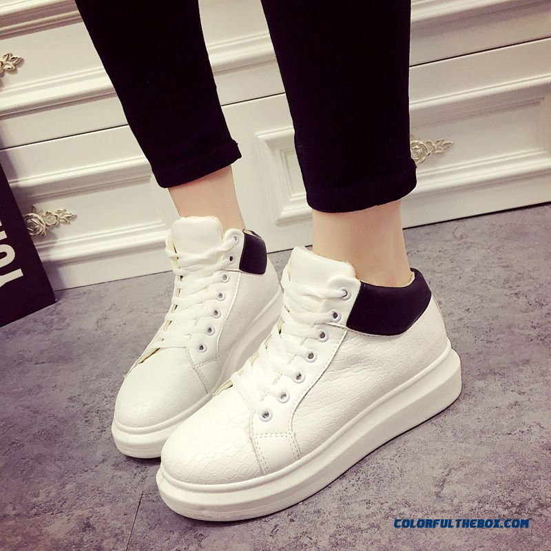 Autumn And Winter Women Casual Shoes Plus Velvet Sports White Tide