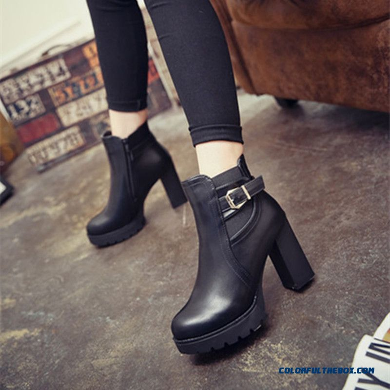 Autumn And Winter Women High-heeled Martin Boots Side Zipper Thick Heel Ankle Boot