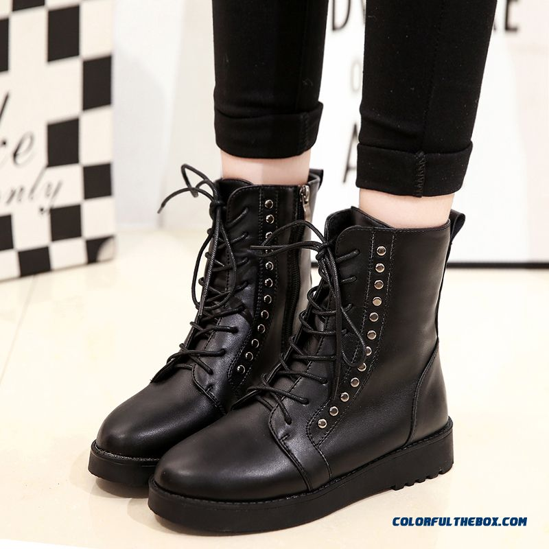 Autumn And Winter Women Shoes Lace Thick Bottom Round-toe Martin Boots Tide