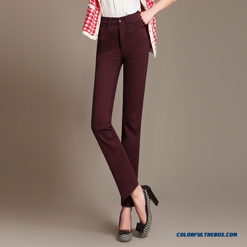 Autumn Clothing Large Size Elastic High Waist Long Casual Pants Plus Fertilizer To Increase Size Straight