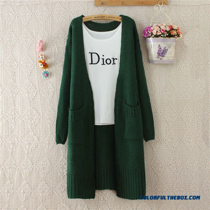 Autumn Clothing Women Sweater Cardigan Coat Long Sleeve Knitwear Loose Medium Long Purple Red Green Black