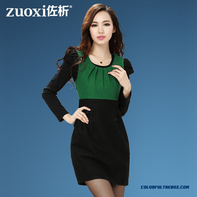 Autumn Elegant Slim Thin Wool Woolen Dress Women Crew Neck